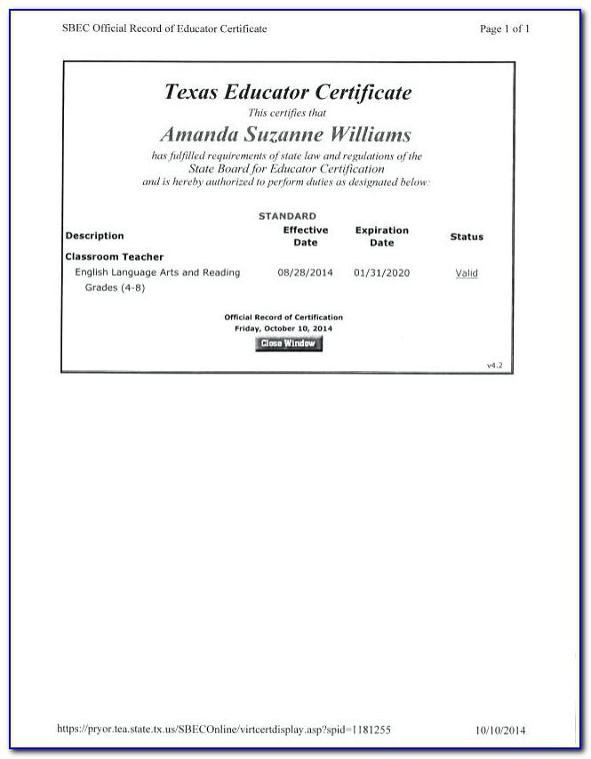 Sbec Texas Teacher Certification Lookup