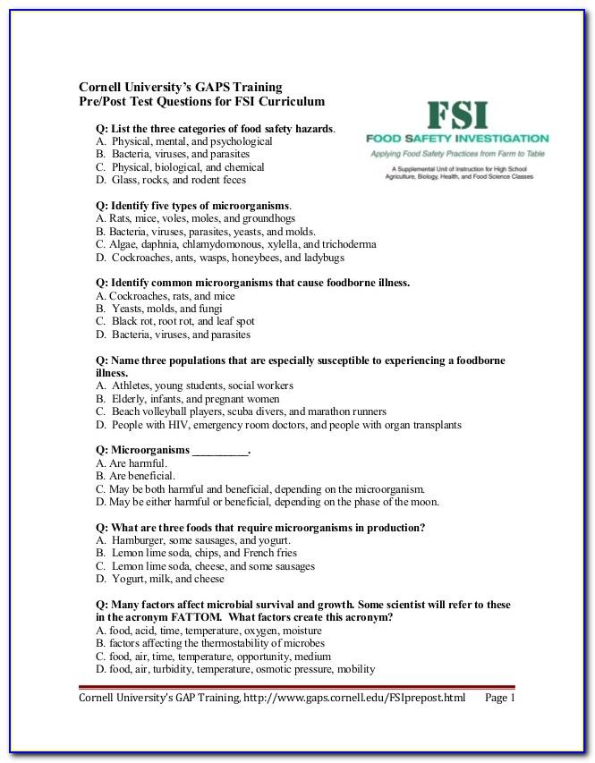 Servsafe Food Protection Manager Certification Practice Test
