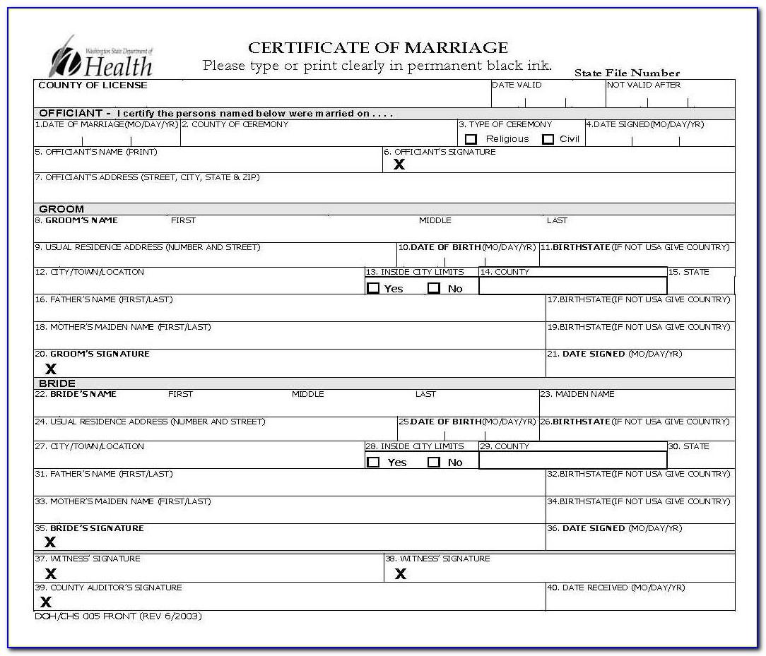 Snohomish County Vital Statistics Birth Certificate