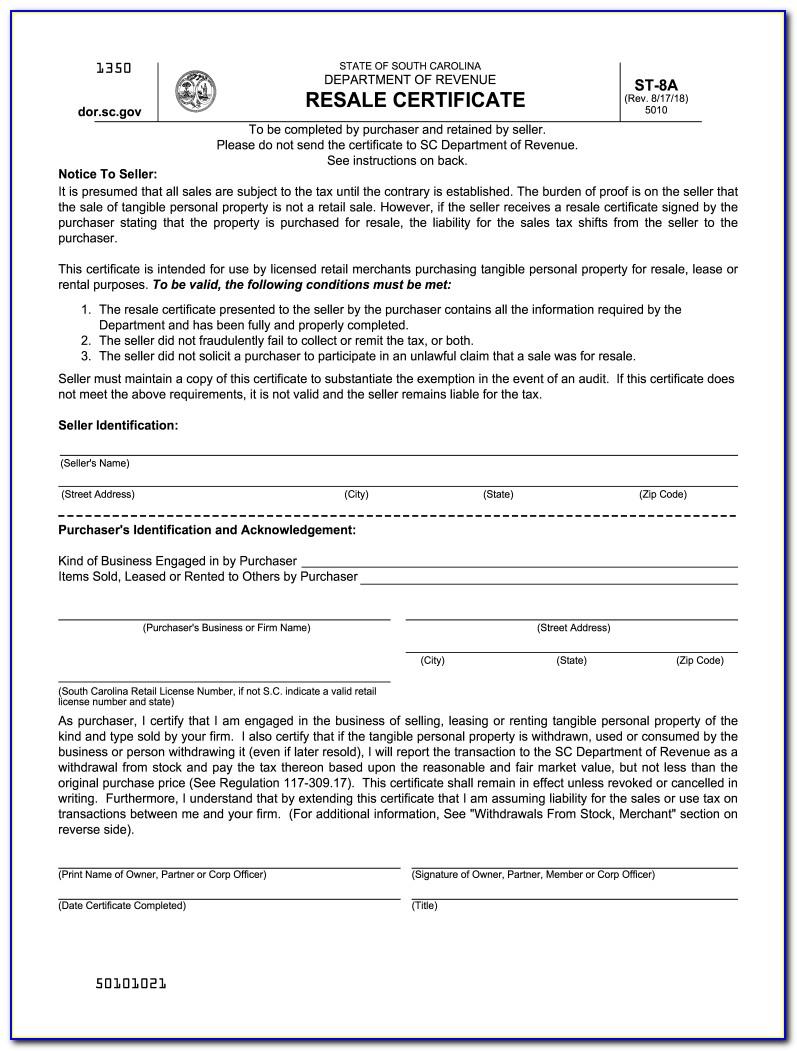 South Carolina Sales Tax Manufacturing Exemption Certificate