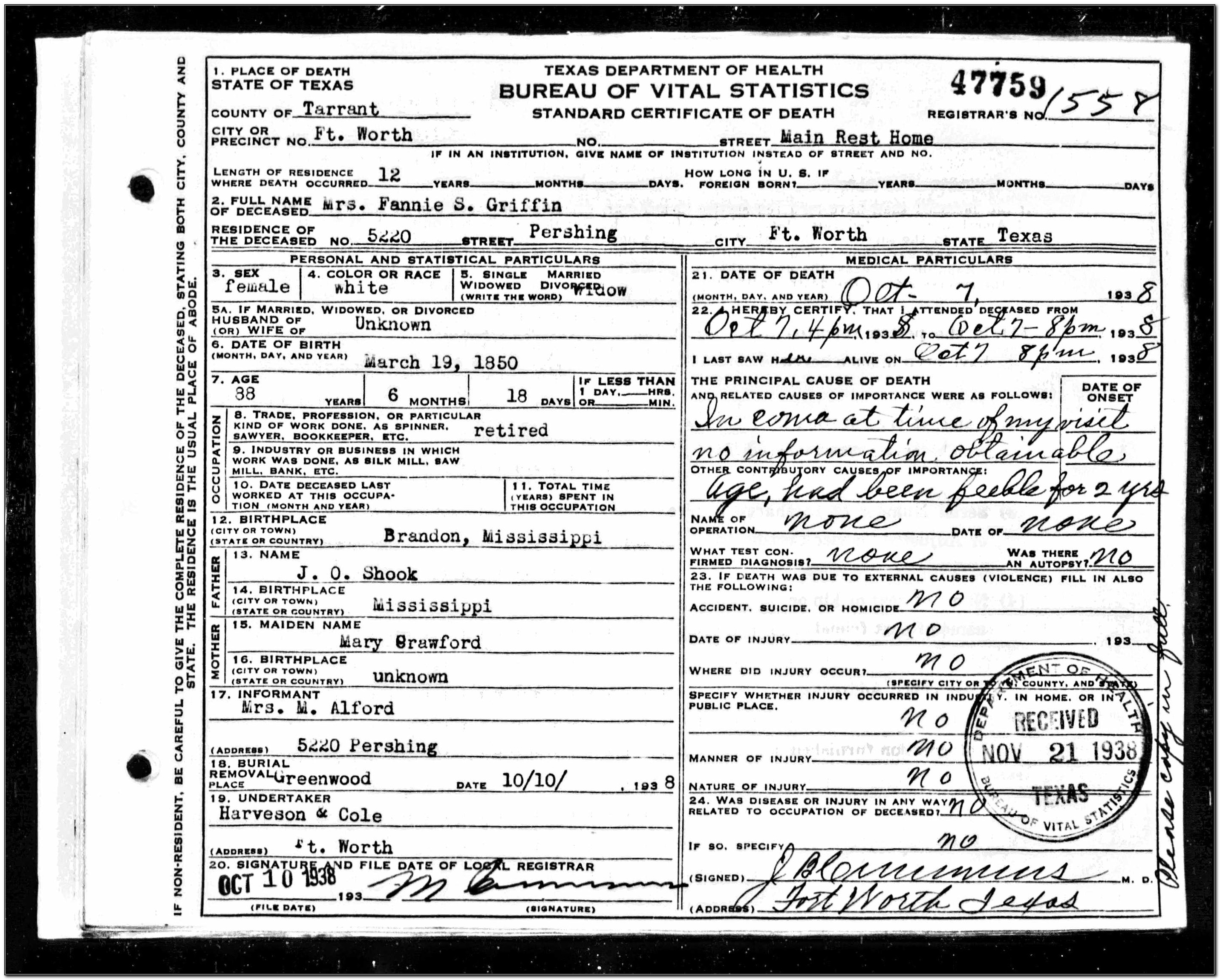 Tarrant County Death Certificate Application
