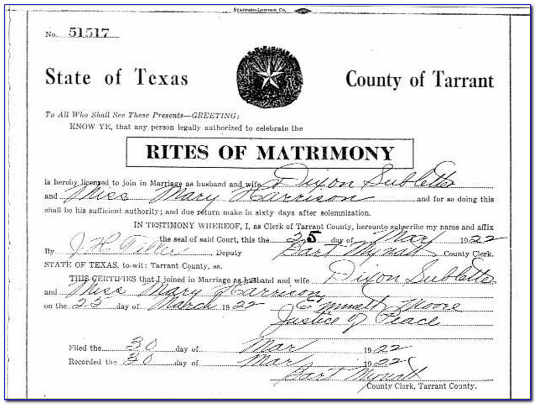 Tarrant County Death Certificates Texas