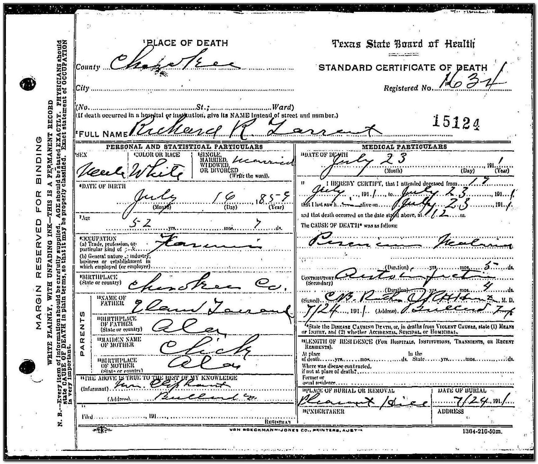 Tarrant County Death Records Search