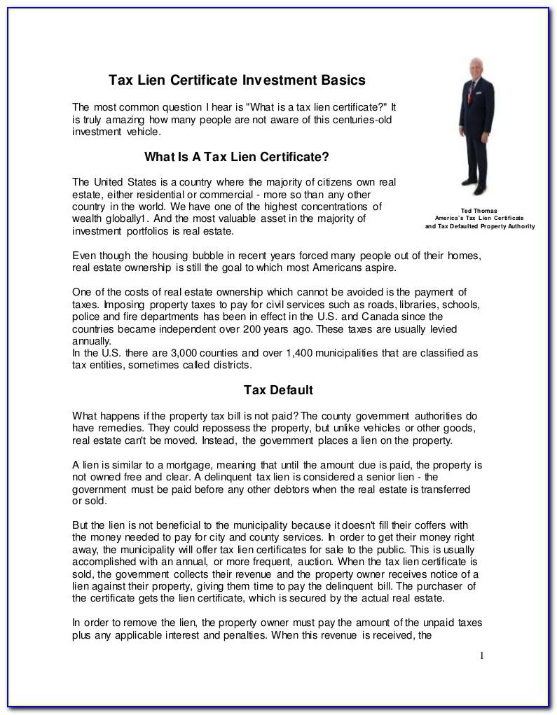 Tax Lien Certificate Investment Training
