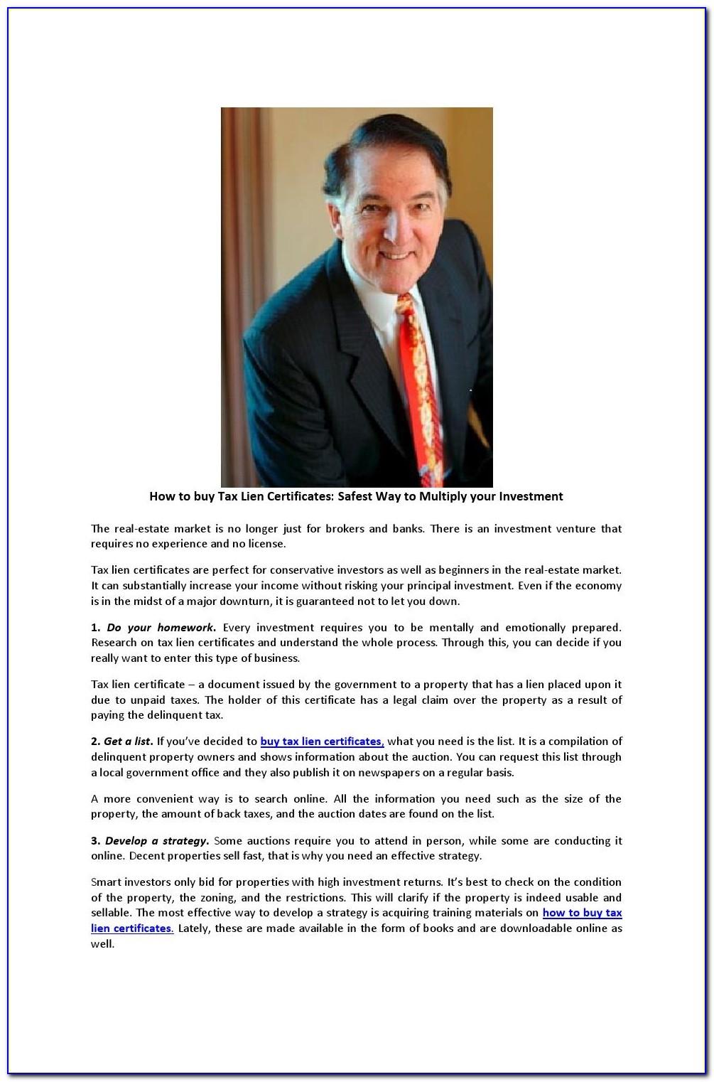 Tax Lien Certificates Florida List