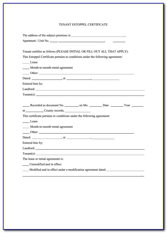 Tenant Estoppel Certificate Form California