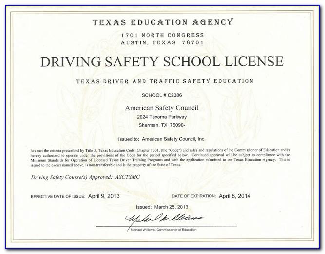 Texas Driver Education Certificate (de 964) Form A Certified Driving School
