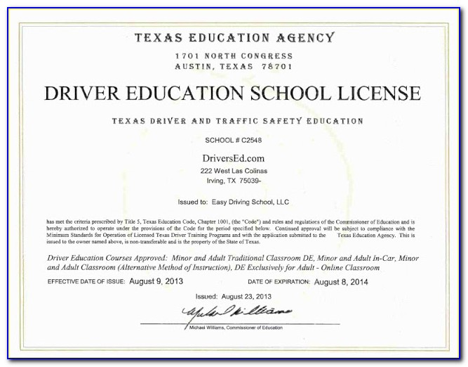 Texas Driver Education Certificate (form De 964e)