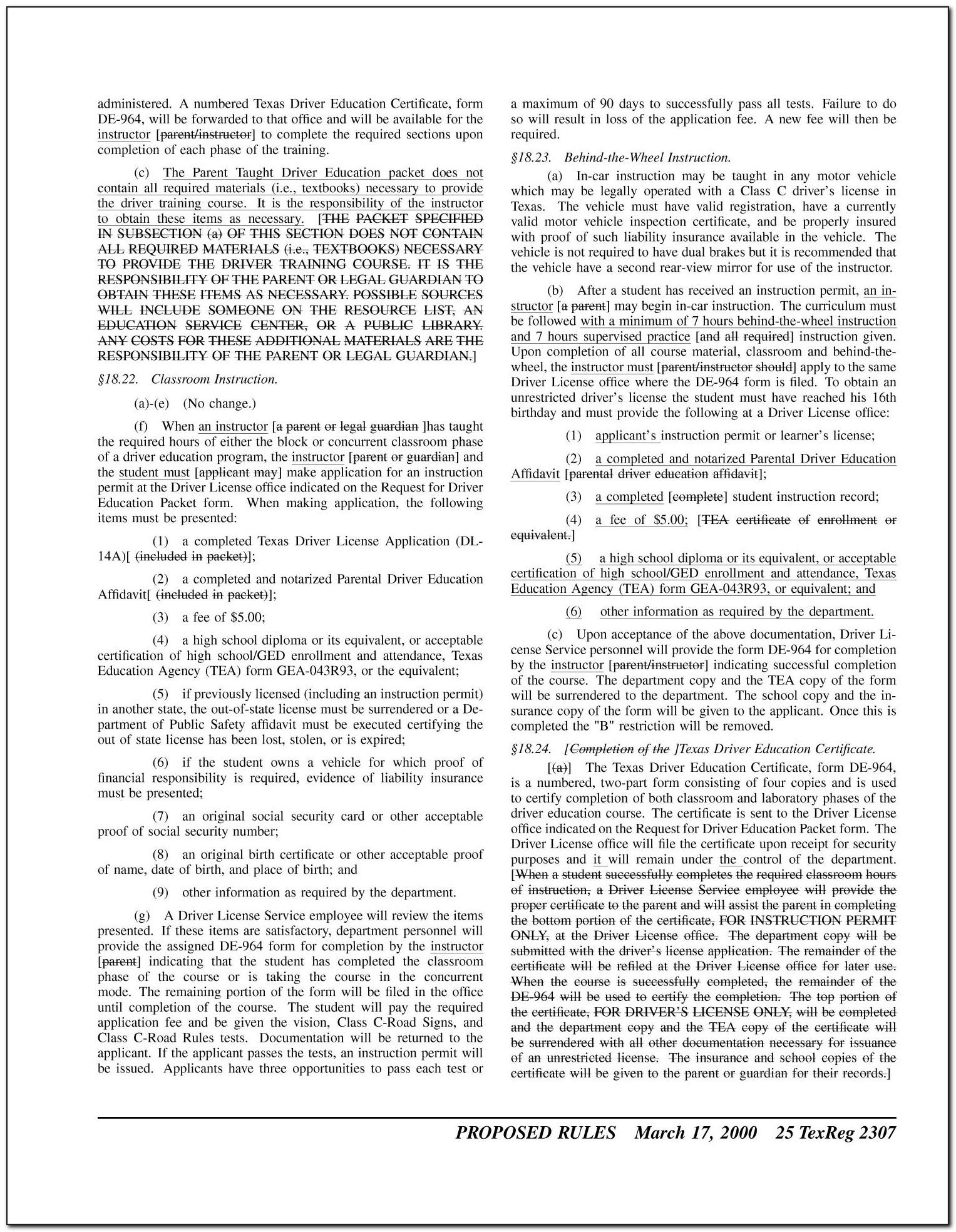Texas Driver Education Certificate Of Completion (de 964 Or De 964e)