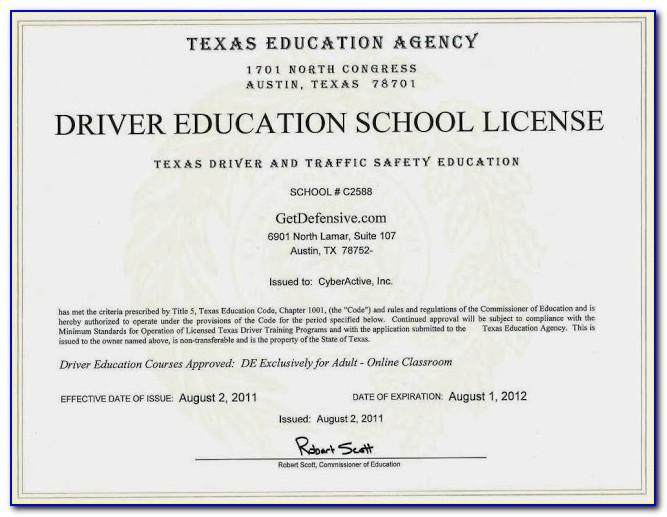 Texas Drivers Education Certificate Form De 964