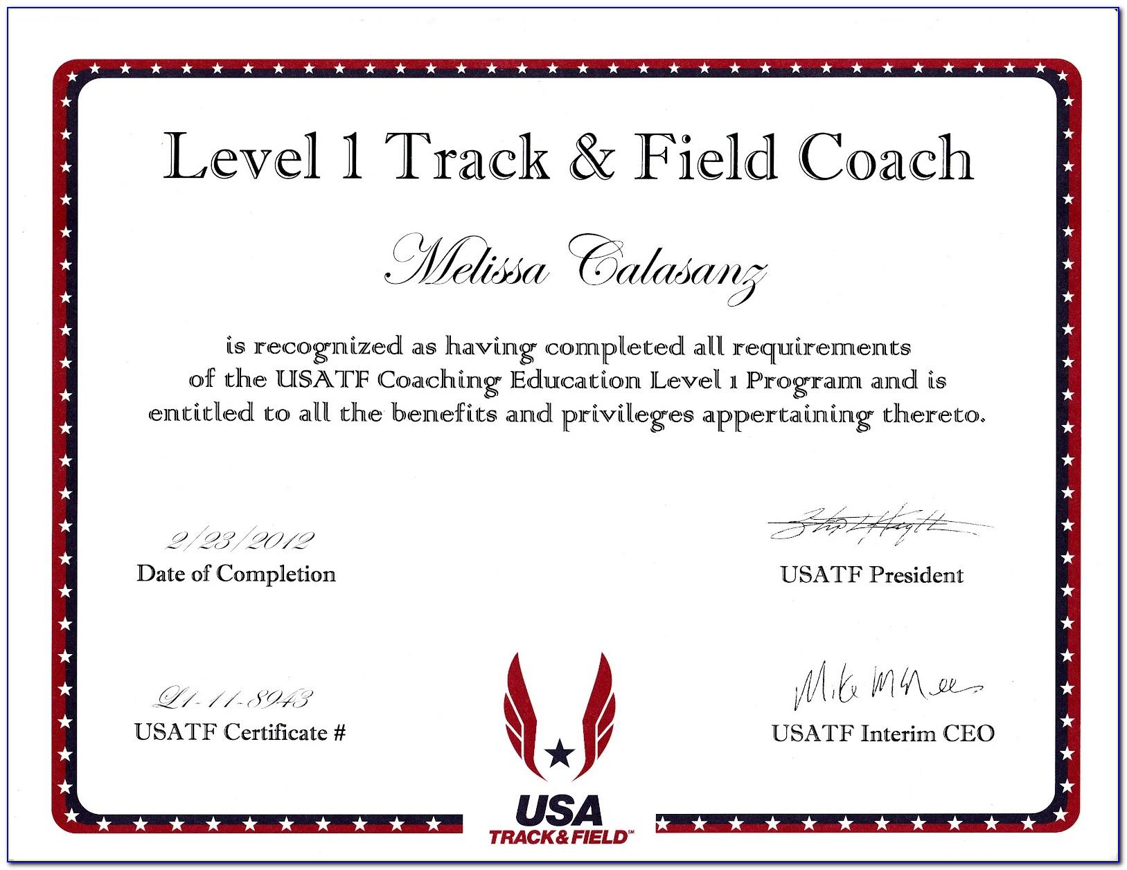 Usatf Coaching Certification Level 1