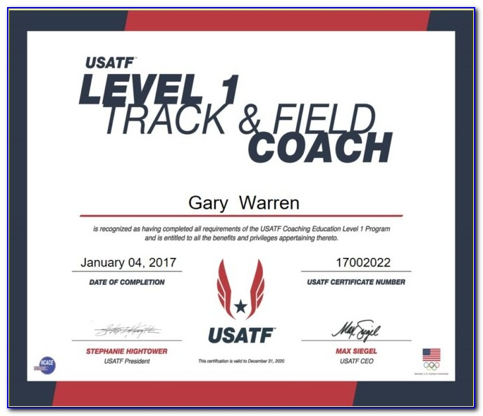 Usatf Level 2 Coaching Certification