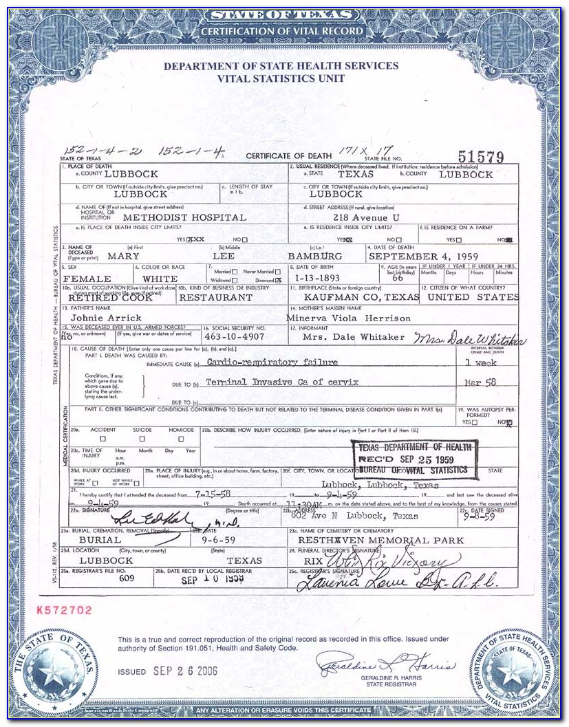 Vital Records Birth Certificate Florence Sc