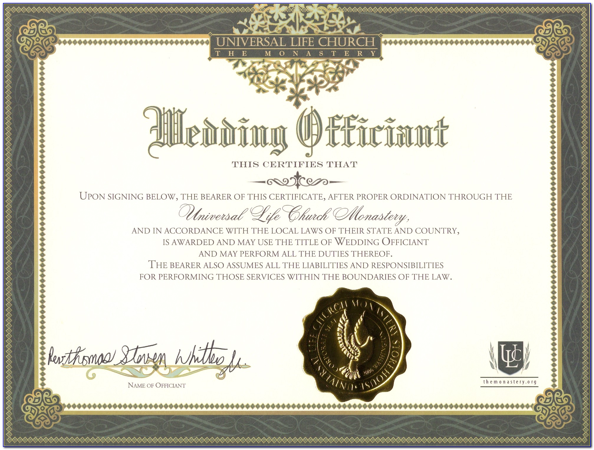 Wedding Officiant Certification California