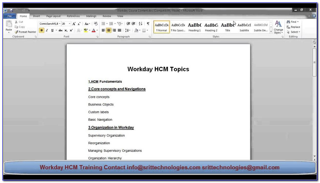 Workday Hcm Certification Course